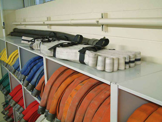 get extra storage on the top of the fire hose racks